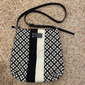 KATE SPADE Black and Off White Spade Monogram Canvas Patent Leather Shoulder Bag
